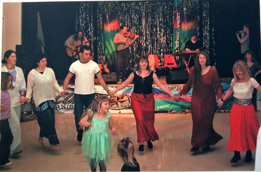 Dancing at Porthtowan Village Hall 2002